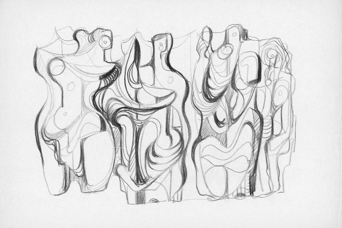 Stilizált sokalakos kompozíció, 1967 k.
