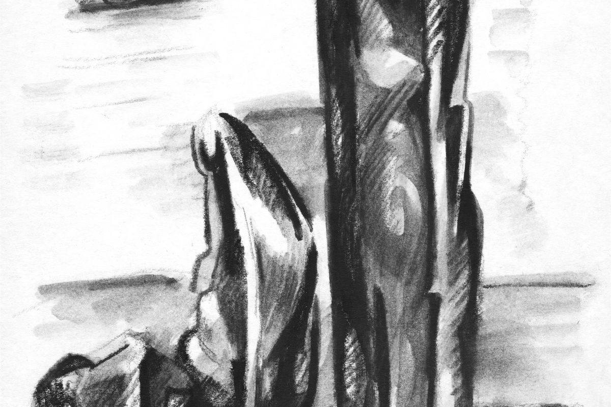 Álló és ülő alak tájban III., 1968